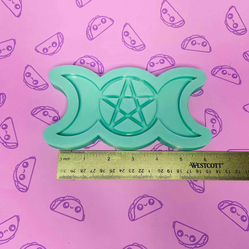 Triple Moon Pentagram Silicone Mold, 6in - TACO MOLDS