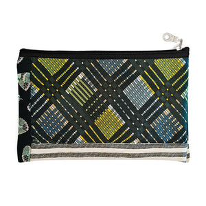 Green Plaid Zipper Pouch