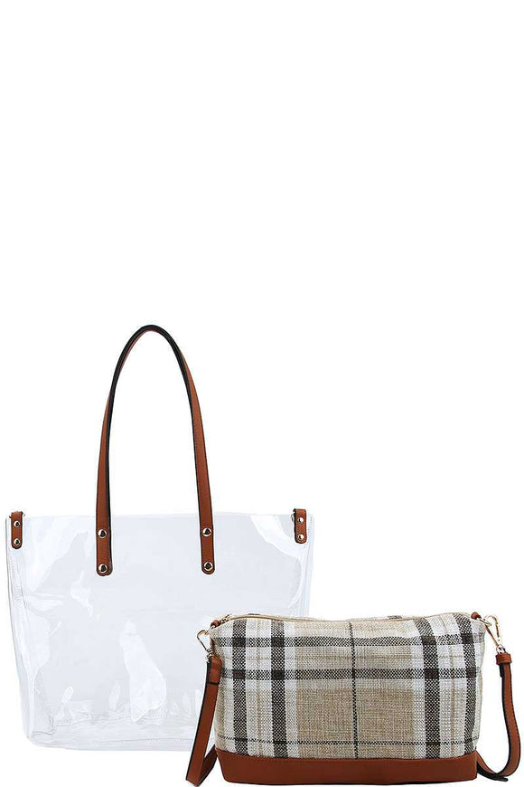 2in1 Transparent Plaid Tote Bag