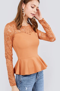 Amelia Lace Peplum Top