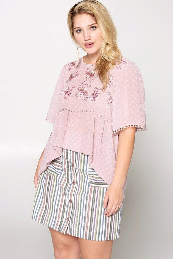 Lace Trimmed Bubble Chiffon Blouse