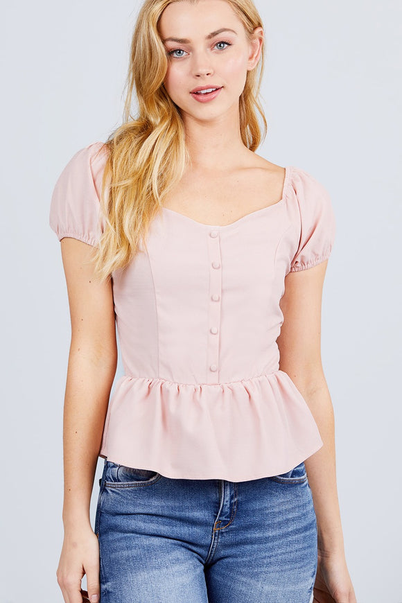 Amelia Heart Neck Woven Top