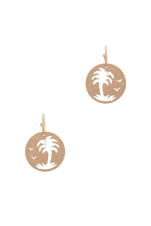 Palm Tree Circle Drop Earring