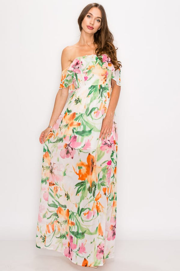 Amelia Floral Print Ruffled Off Shoulder Maxi Dress