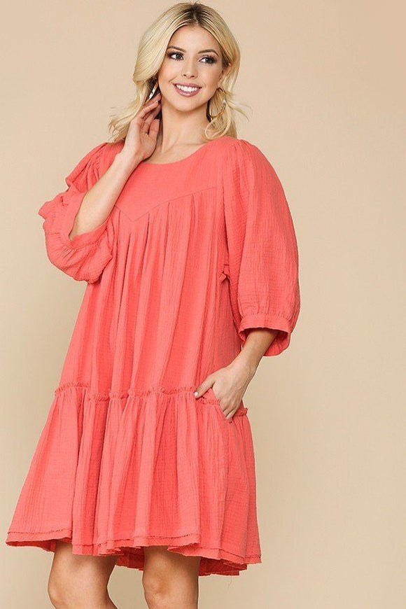 Amelia 3/4 Sleeve Pocket Ruffle Pintuck Swing Dress