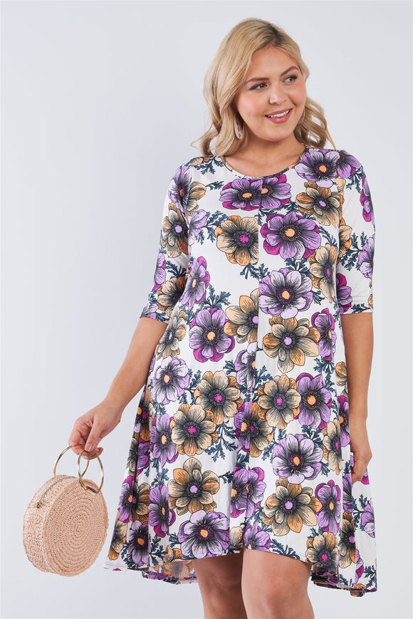 Penelope White Floral 3/4 Sleeve Midi Dress