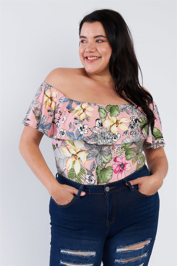 Plus Size Pink Tropical Print Off The Shoulder Snap Bottom Bodysuit
