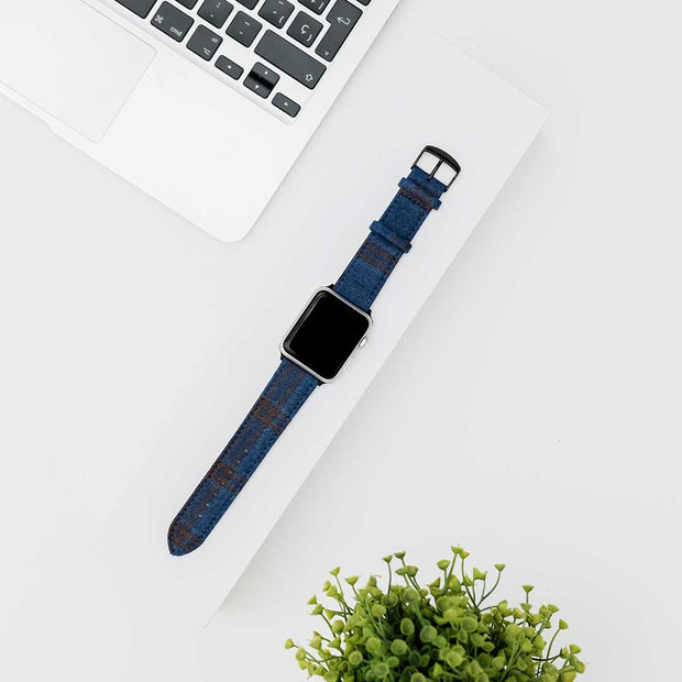 Apple Watch BRIGHT BLUE w DOUBLE BROWN WINDOWPANES