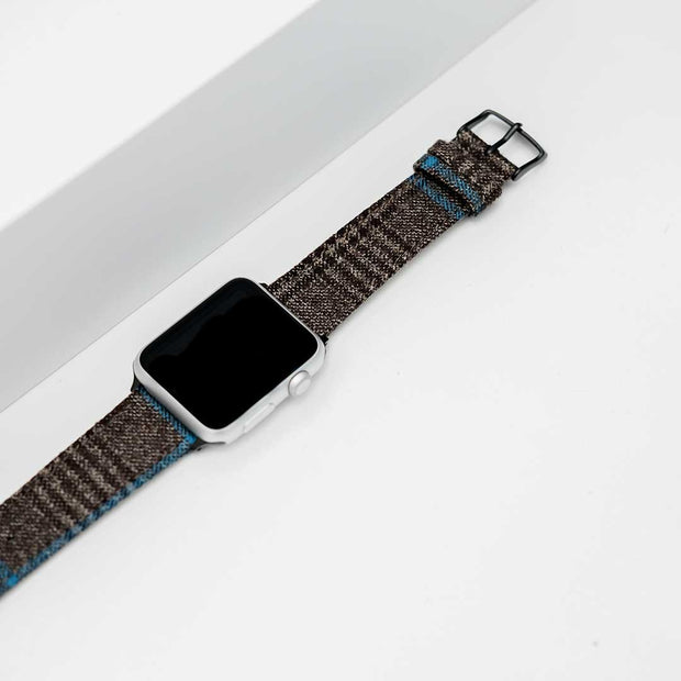 Apple Watch BROWN/TAN PLAID w TURQUOISE WINDOWPANE