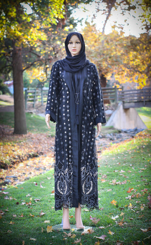 LAYLA - Dark Beauty Formal Kimono with Full sleeves Slip