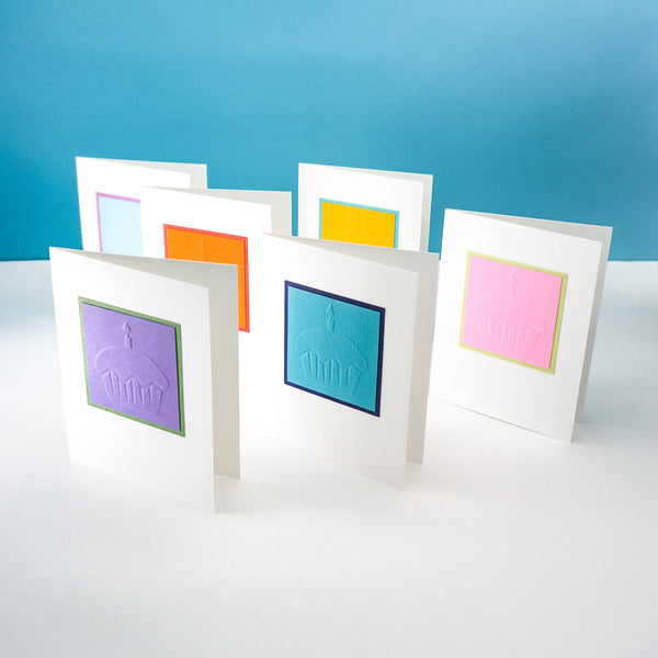 blank birthday cards - colorful hand-embossed cupcakes