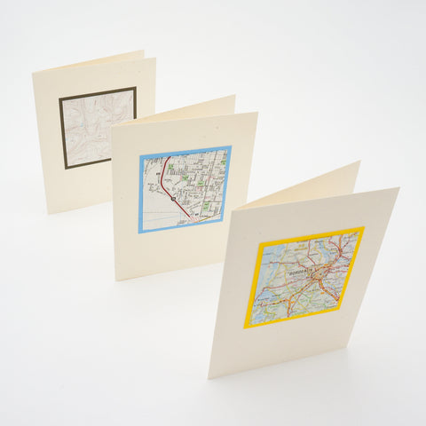 blank notecards - repurposed maps