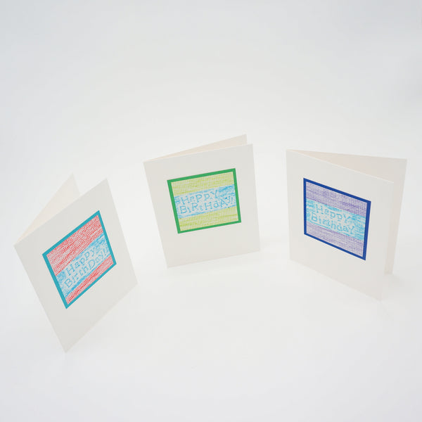 blank birthday cards - colorful crayon rubbings