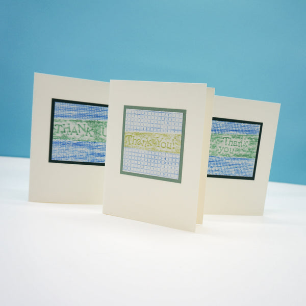 blank thank you cards - green and blue crayon rubbings