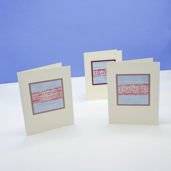 blank thank you cards - prink and blue crayon rubbings