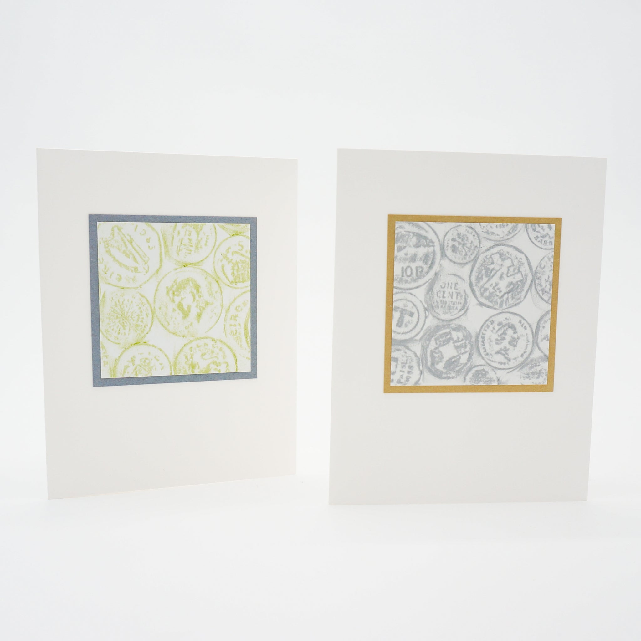 blank notecards - crayon rubbings of international coins