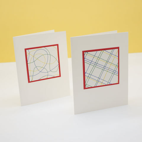 blank notecards - bright thread stitching