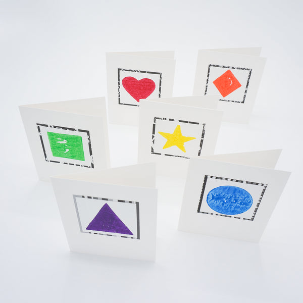 blank notecards - primary color potato print shapes
