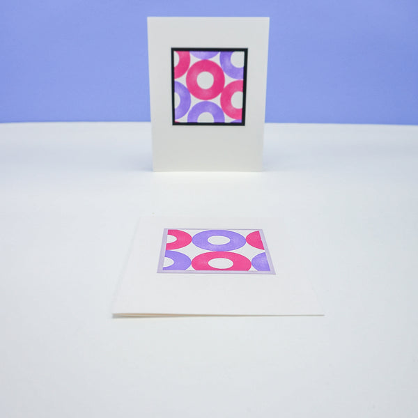 blank notecards - stamped pink and purple circles