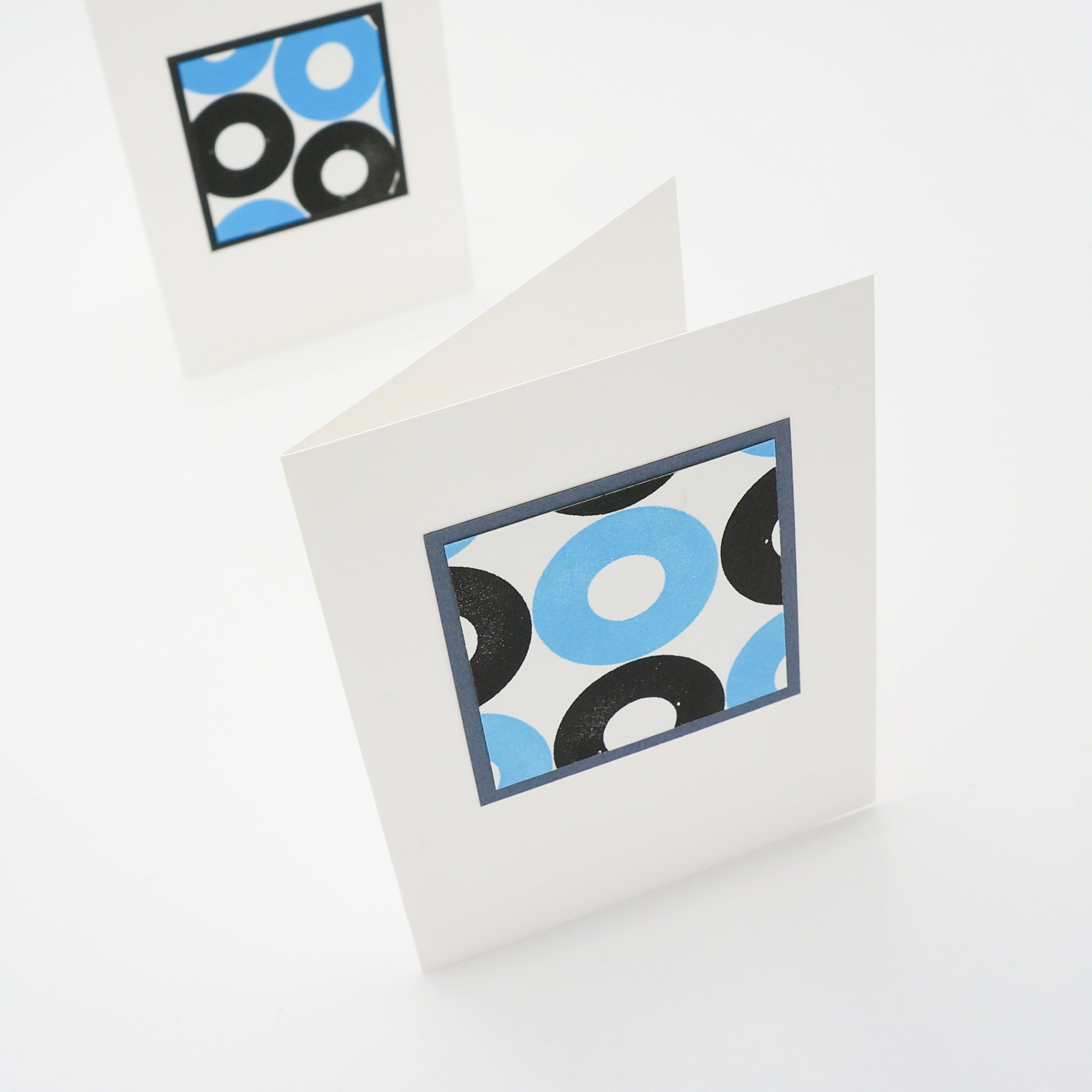 blank notecards - stamped black and turquoise circles
