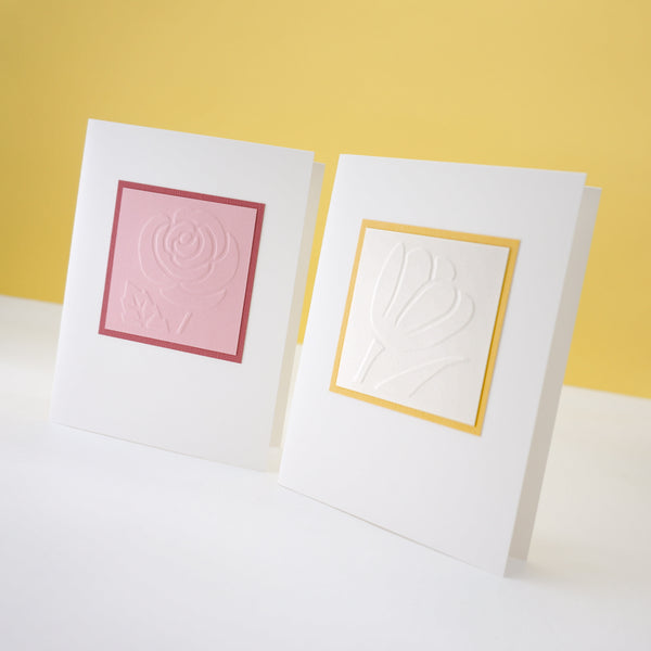blank notecards - hand-embossed rose and tulip