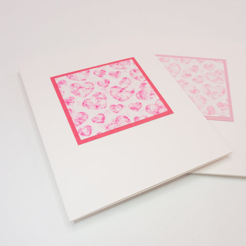 Crayon Rubbing Hearts Notecard
