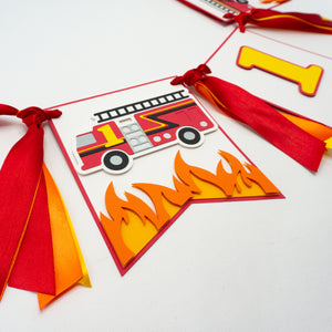 Firefighter 1st Birthday High Chair Banner