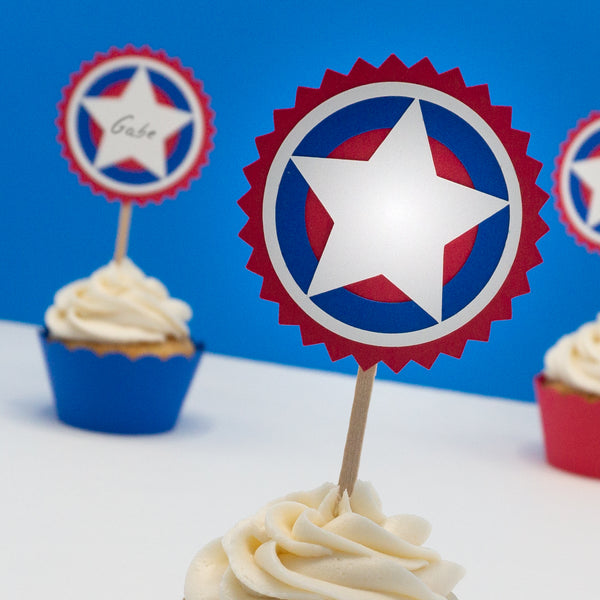 Red, White, and Blue Cupcake Toppers