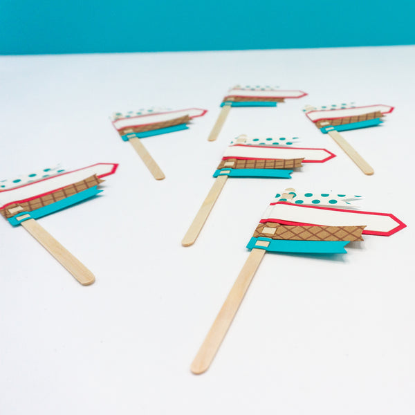 Flag Ice Cream Party Cupcake Toppers