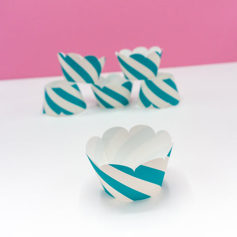 Teal Striped Cupcake Wrappers - Handmade