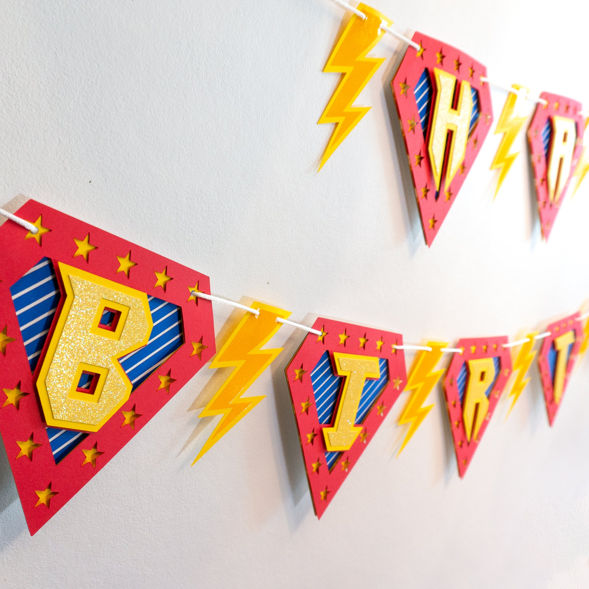 Handcrafted Superhero Birthday Banner