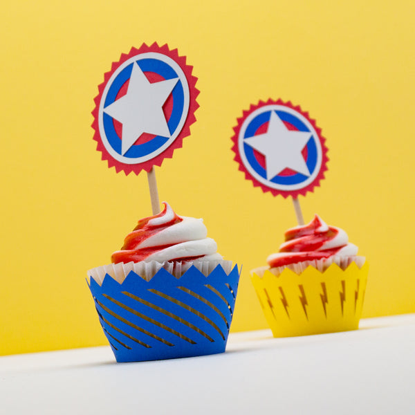 Handcrafted Superhero Cupcake Wrappers