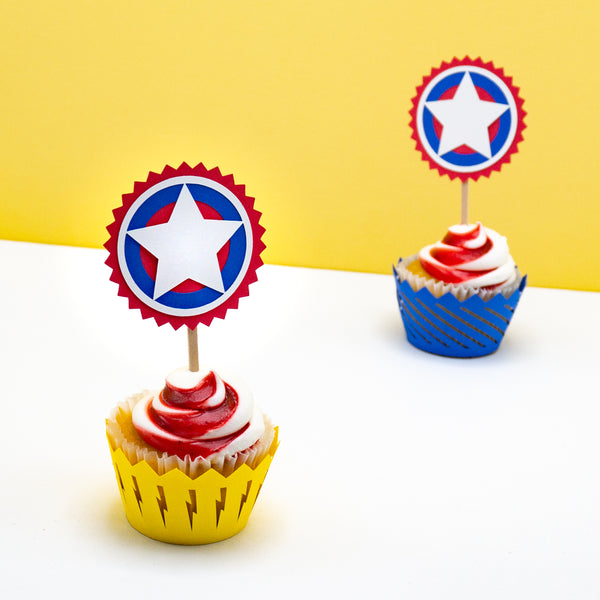 Handcrafted Superhero Cupcake Toppers