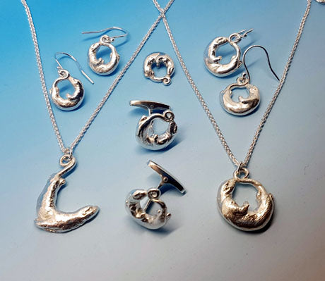 Beautiful handmade silver otter jewellery