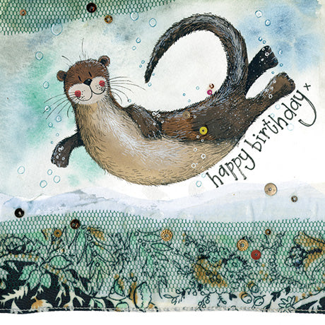 Otter design flittered birthday card (Alex Clark)