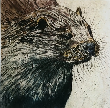Otter monoprint card (Annabel Langrish)