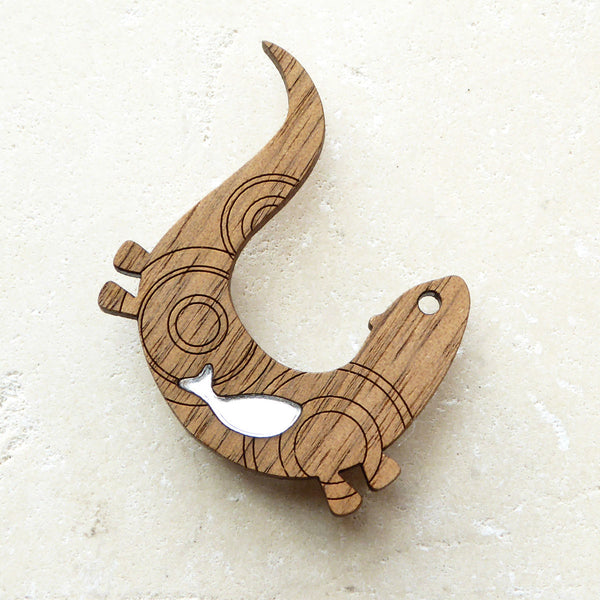 Original wood veneer design otter brooch (Shark Alley)