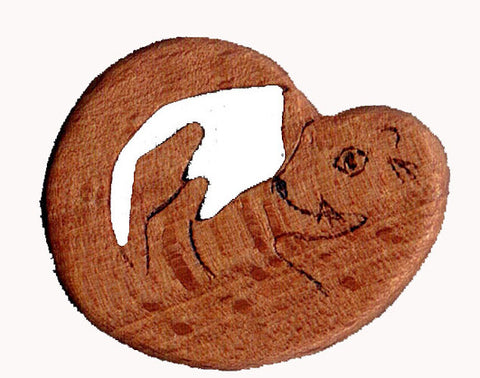 Wooden Otter Pin Badge