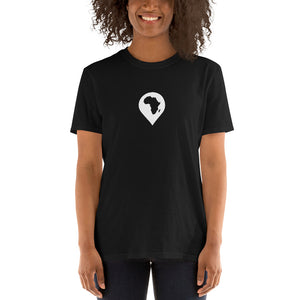 continent drop pin // unisex t-shirt, black
