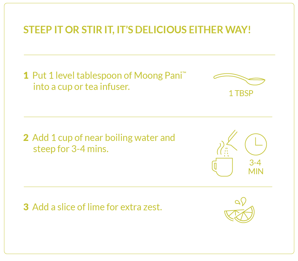 Instructions on how to use Mighty Moong Pani. Steep it or stir it, it's delicious either way! Step 1: Put 1 level tablespoon of Moong Pani into a cup or tea infuser. Step 2: Add 1 cup of near boiling water and steep for 3-4 minutes. Step 3: Add a slice of lime for extra zest.