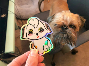 Happy Holographic Doggo Sticker