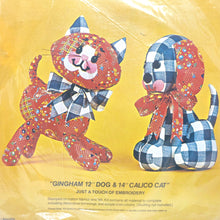 "Load image into Gallery viewer, ""Gingham Dog & Calico Cat"" Bucilla Stuffed Animal Needlecraft"