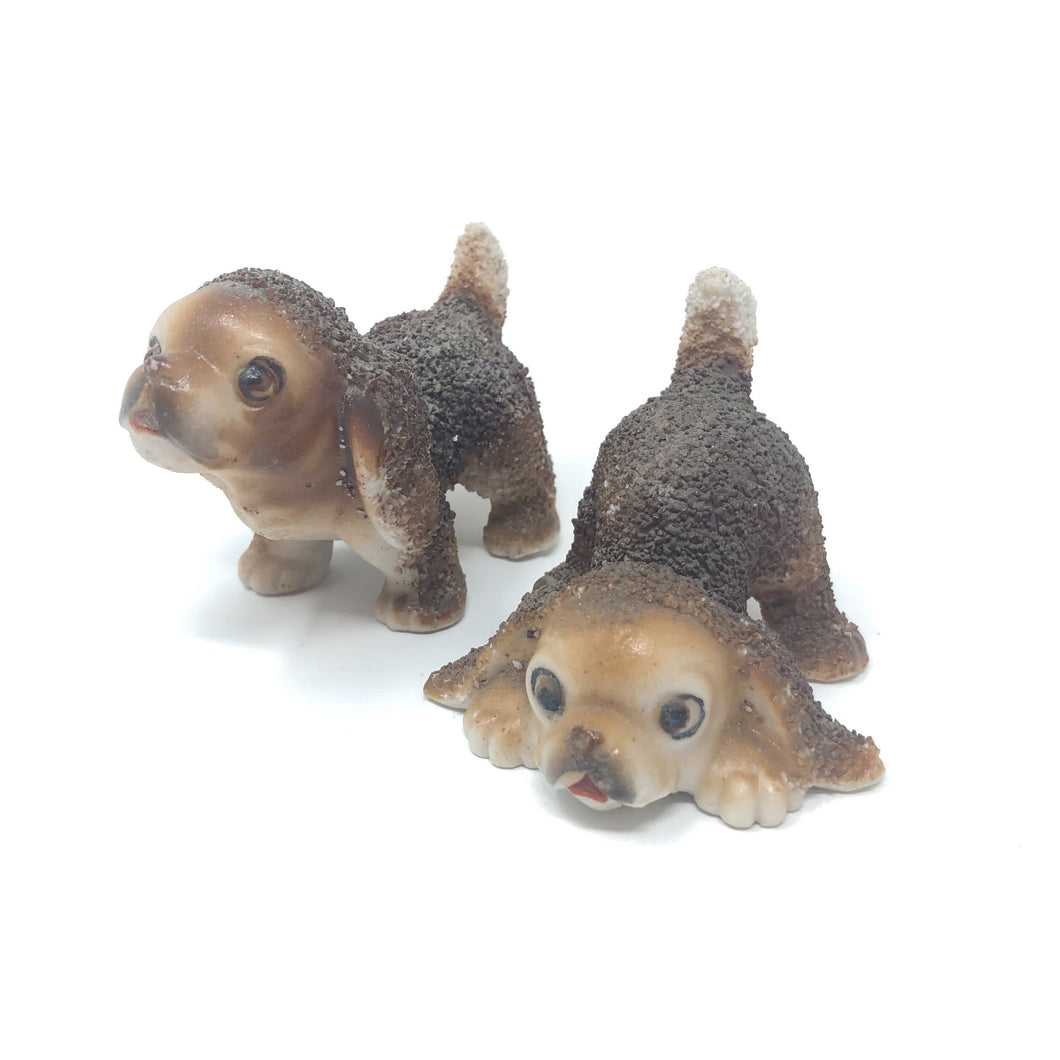 Pair of Sugar-Textured Ceramic Doggos