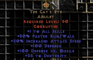 +1 Cat's Eye Amulet (Softcore) - d2dm