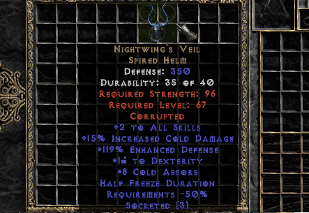 3os 15% Cold Dmg Nightwing's Veil (Softcore) - d2dm