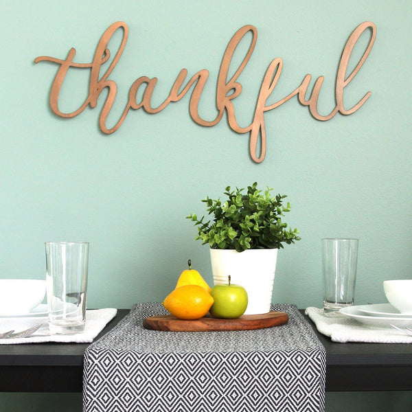 "Bronze ""Thankful"" Metal Script Wall Decor Wall Decor HomeRoots"