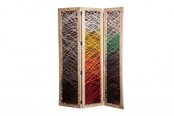 "61"" x 1.5"" x 72"" Multicolor Fabric And Wood Crisscross Screen Screens HomeRoots"