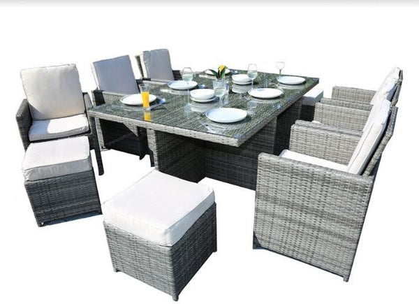 "372320 129"" X 76"" X 46"" Gray 11-Piece Outdoor Dining Set with Cushions HomeRoots.co"