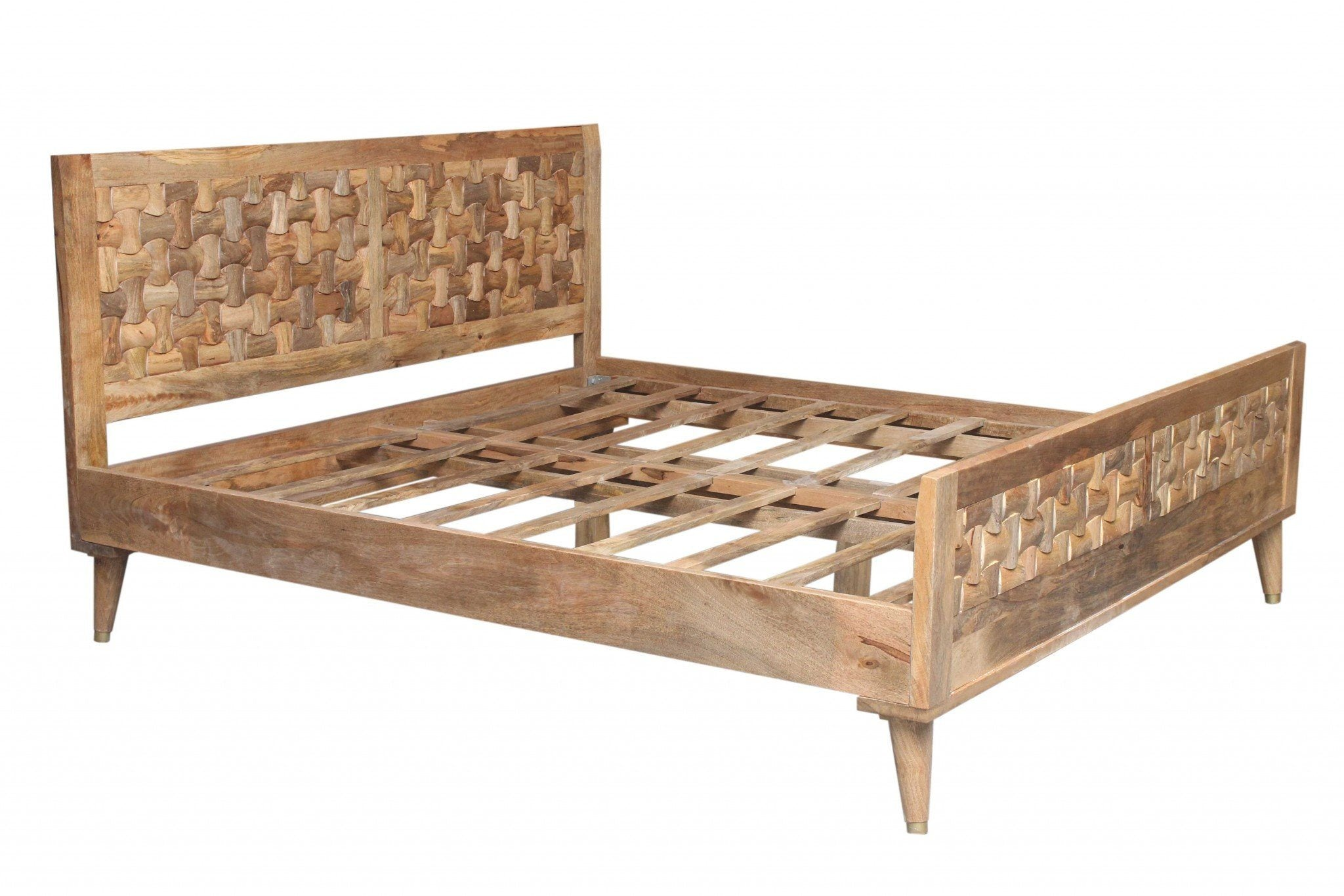 Tulsi Sustainable Mango Wood Queen Size Bed HomeRoots.co