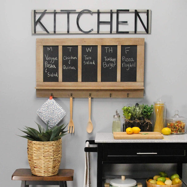 Chalkboard and Wood Wall Hanging with Antiqued Metal Hooks Wall Decor HomeRoots